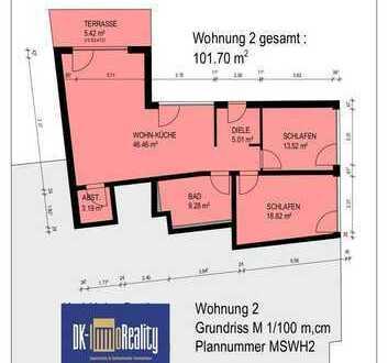Hochwertige Erdgeschosswohnung mit Terrasse (Nr.2), ca.101,70 m² in Bad Kötzting - zentrale und ruhi