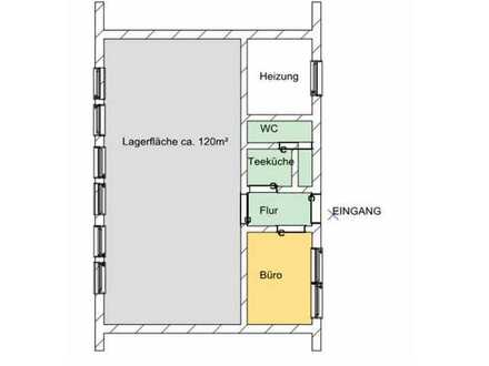 PROVISIONSFREI: Lagerfläche mit kleinem Büro und WC