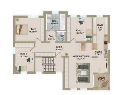 4 Zimmer-Eigentumswohung (Neubau/Erstbezug!)mit Loggia,Carport u. Stellplatz in nur 3-Parteienhaus !