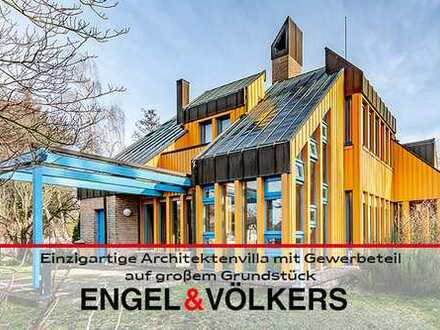 Einzigartige Architektenvilla mit Gewerbeteil auf großem Grundstück