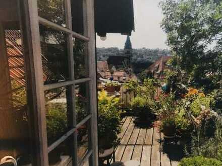Exclusive Dachgeschoss-Galerie-Wohnung mit Dachgarten & Kamin in Esslingens Innenstadt