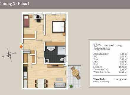 Ideal zur Vermietung - 3,5-Zi.-EG-Wohnung mit Gartenanteil