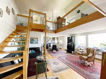 Ein Schmuckstück ist diese 3,5- 4 Zimmer-Dachterrassenwohnung im Maisonettestil in Aussichtslage