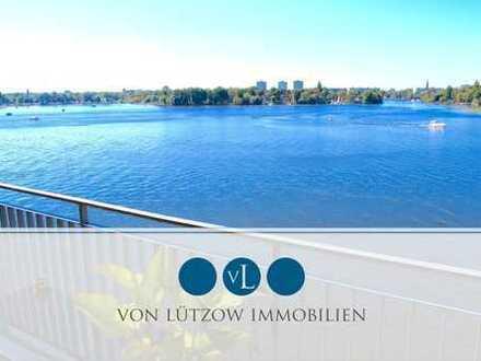 Exklusiv an der Wasserfront - 4-Raum-Wohnung, 156qm, 3.OG, Balkon, Küche, A-Lage