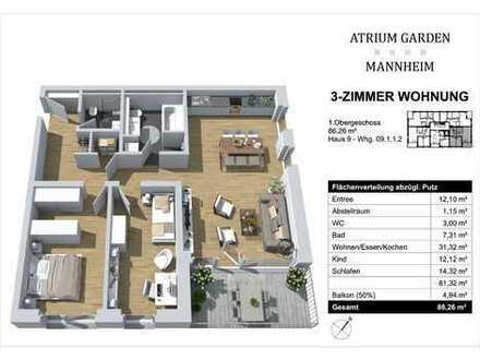 Raumkühlsystem - 3 Zimmer - Frühstücks-Balkon