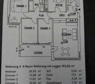 Attraktive 4,5 Zimmerwohnung mit großer Loggia Stadtkrone Ost / Gartenstadt