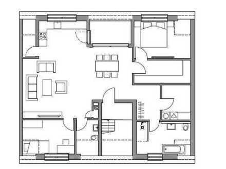 Dachgeschosswohnung mit Dachterrasse zum ruhigen Hinterhof. Kaum Dachschrägen! Klimaanlage möglich