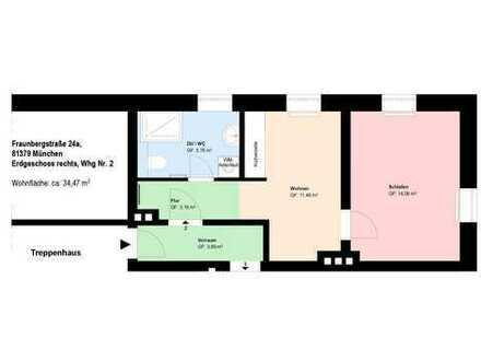 * Ab Sofort * moderne möblierte Erdgeschosswohnung * Küche mit EBK * Bad mit Dusche und Fenster *