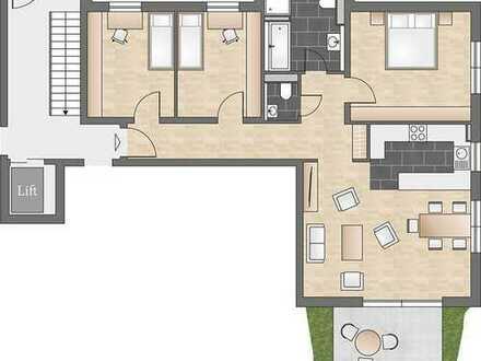 Praktisch geschnittene 4-Zimmer-Neubauwohnung mit Terrasse und offener Küche