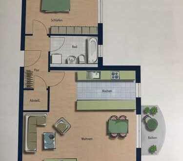 Ruhige, möblierte und gut geschnittene Wohnung mit Balkon zu vermieten
