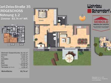 3 Zimmer 83,74 m² Wfl. Erdgeschoss mit Garten