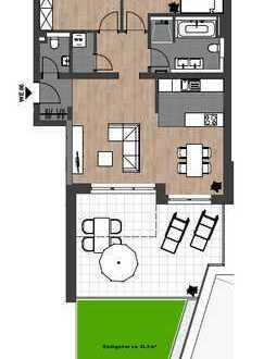 Erstbezug: Exklusive 3-Zimmer-Wohnung mit großer Terrasse mit Dachgarten in zentraler Lage