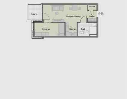 2-Zimmerwohnung im Obergeschoss für Senioren (Whg. 37)