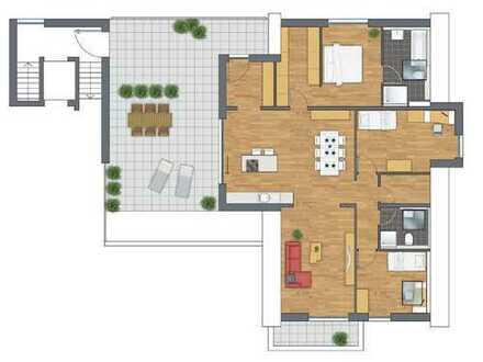 Wir bieten ca. 50 m² Dachterrasse mit einer gut geschnittenen Wohnung!
