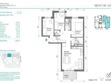 NEUBAU! Schöne 4 Zimmer-Wohnung (NBZ 7.08) mit Balkon zum begrünten Innenhof