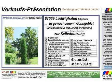 Edigheim 2019 1.-Fam.-Haus 195 m² 8 Zi Bungalow-Stil/ELW/Terr/Garten/Garage/STP/beliebte Wohnlage