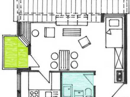 Helle, ruhig gelegene 1-Zimmer-Wohnung mit West-Balkon und Tiefgaragenstellplatz