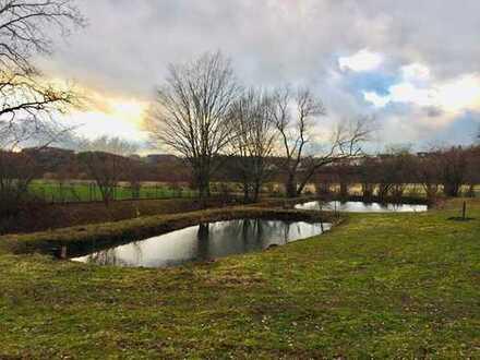 Schönes Grundstück mit Teichanlagen und Blockhütte
