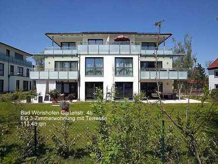 Luxuriöse, altersgerechte, neuwertige 3-Zimmer-Erdgeschosswohnung mit Terrasse in Bad Wörishofen