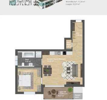 Wohncarré PARSBERG: Neubau 2-Zimmer-Obergeschoss-Wohnung barrierefrei mit Aufzug u. Tiefgarage