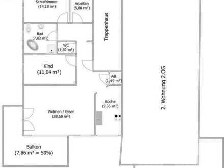 3,5-Zimmer-Wohnung mit Einbauküche und Balkon in 72108 Rottenburg