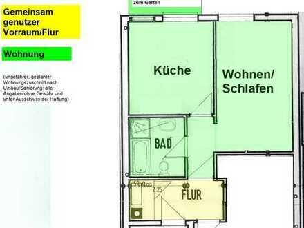 Sanierte 1-Zimmer-Wohnung (39qm), Garten+Einbauküche zentral in Kamen