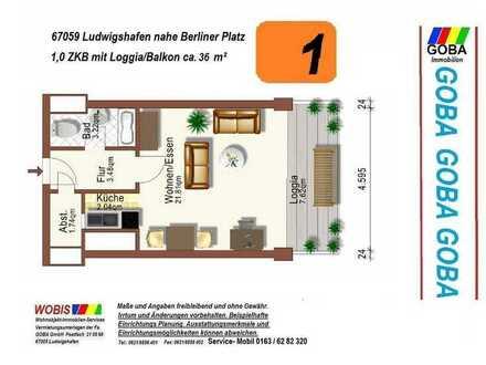 Lu City 01.07.2021 früher/später helle 1 ZKB 36 m² Wohn/Arbeitsbereich Balk EBK nahe Berliner Platz