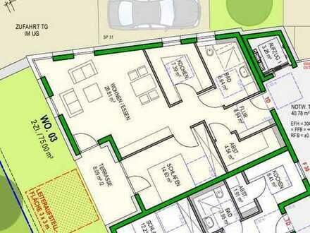 *Seniorenwohnung* Neubau: barrierefreie 2-Zi-Whg mit Terrasse, Aufzug, Tiefgar. und Hausmeisterser.