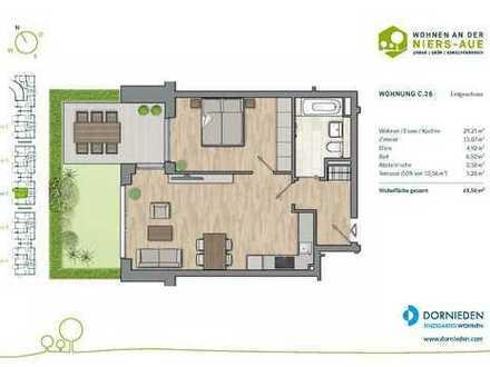 2-Zimmer-Erdgeschosswohnung mit Sonnenterrasse und Garten