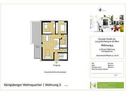 Helle 3,5-Zimmer-Whg. im DG mit Balkon und Aussicht (Whg. 3)