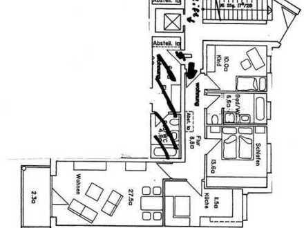 ruhige neu renovierte 3-Zimmer-Wohnung mit Balkon und EBK in Germering