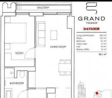 GRAND TOWER im Europaviertel: Wunderschöne Neubau 2-Zimmer Wohnung (55,1m²)