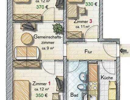 Citynah und verkehrsgünstig wohnen, Zimmer für Studenten, Azubis und Schüler