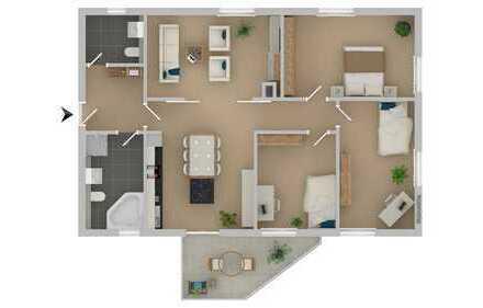 WE05: 4 Zimmer mit Balkon und 2 Bädern