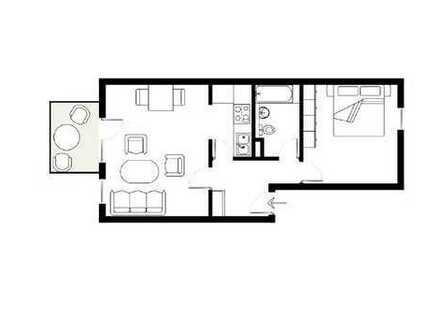 Gepflegte 2-Zimmerwohnung mit großer Terrasse