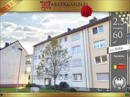 +++ TIPP +++ sofort bezugsfreie 60m² Wohnung 2,5 Zimmer, Balkon u. Garage in Herne