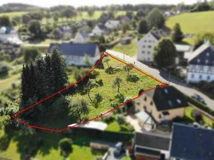 Schönes, ruhig gelegenes Baugrundstück (1.462 m²) in Wolkenstein mit herrlichem Blick zum Schloß