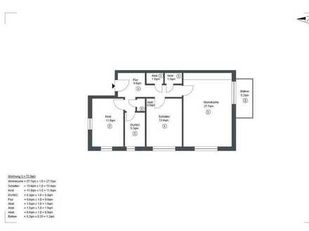 Erstbezug: exklusive 3-Zimmer-Wohnung mit Balkon in Pfedelbach