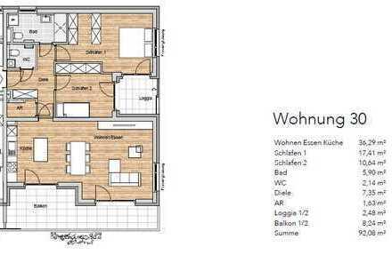 Wohnpark Sonnenfeld, 1.OG, 3-Zimmer, Wohnung 30