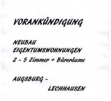 VORANKÜNDIGUNG - AUGSBURG/LECHHAUSEN