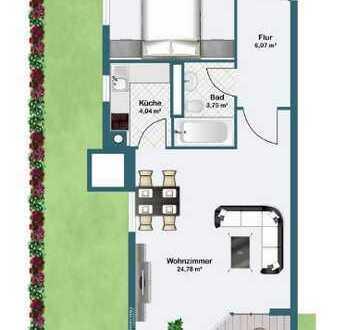 Erstbezug nach Sanierung: stilvolle 2-Zimmer-EG-Wohnung mit Einbauküche und Balkon in Unterföhring