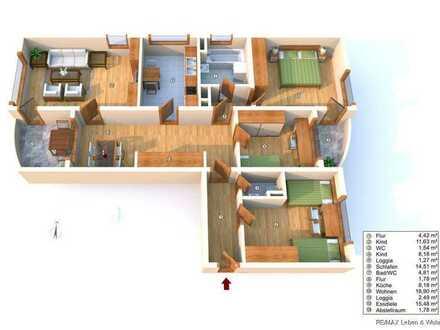 RE/MAX AUGSBURG  Schone und helle 4 Zimmerwohnung mit Terrasse und kleinem Balkon in Lechhausen