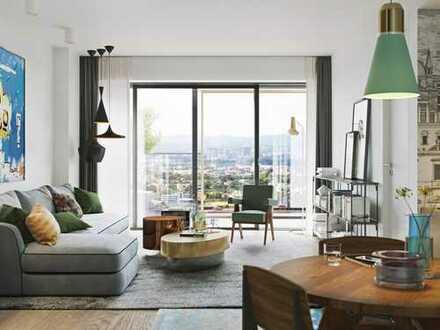 At home up high! Urbane 2-Zi.-Wohnung mit ca. 24 m² großem Balkon