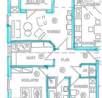 Gepflegte 3-Zimmer-DG-Wohnung mit Balkon in Sandkrug