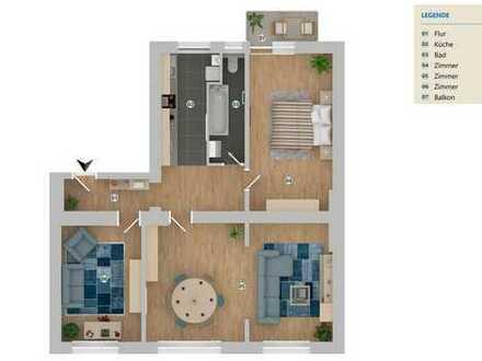 Erstbezug nach Sanierung 3,5 Zimmer 1.OG Wohnung mit Süd-Balkon in D-Unterbilk