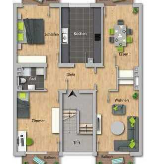 ERSTBEZUG nach Kernsanierung - 4 Zimmer-Wohnung mit 4 Balkonen im Ortskern von Mannheim-Lindenhof