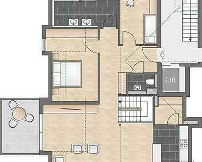 Außergewöhnliche 4-Zimmerwohnung über zwei Etagen mit großzügigem Dachstudio