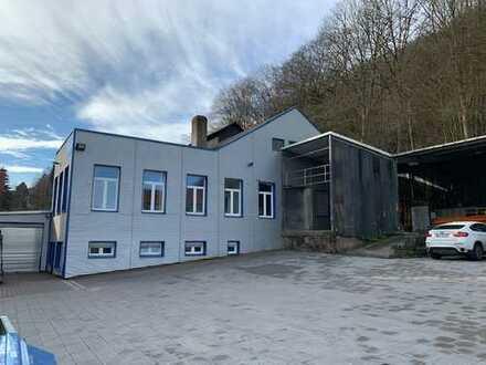 Lager-/Produktionshalle mit Verwaltungsgebäude und großem Außengelände (Sanierung 2018)
