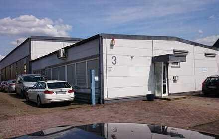 Optimaler Standort: 3 Gewerbehallen, 1 Unterstand, 1 Büro/Sozialgebäude, ca. 1500 qm Hof/Lagerfläche