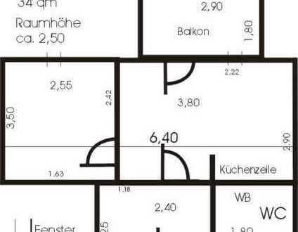 Gepflegte 1,5-Raum-Wohnung mit Balkon und Einbauküche in Hof